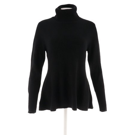 Pure Cashmere Crewneck Sweater - Isaac Mizrahi 2-Ply Cashmere Turtleneck Peplum Sweater A296440