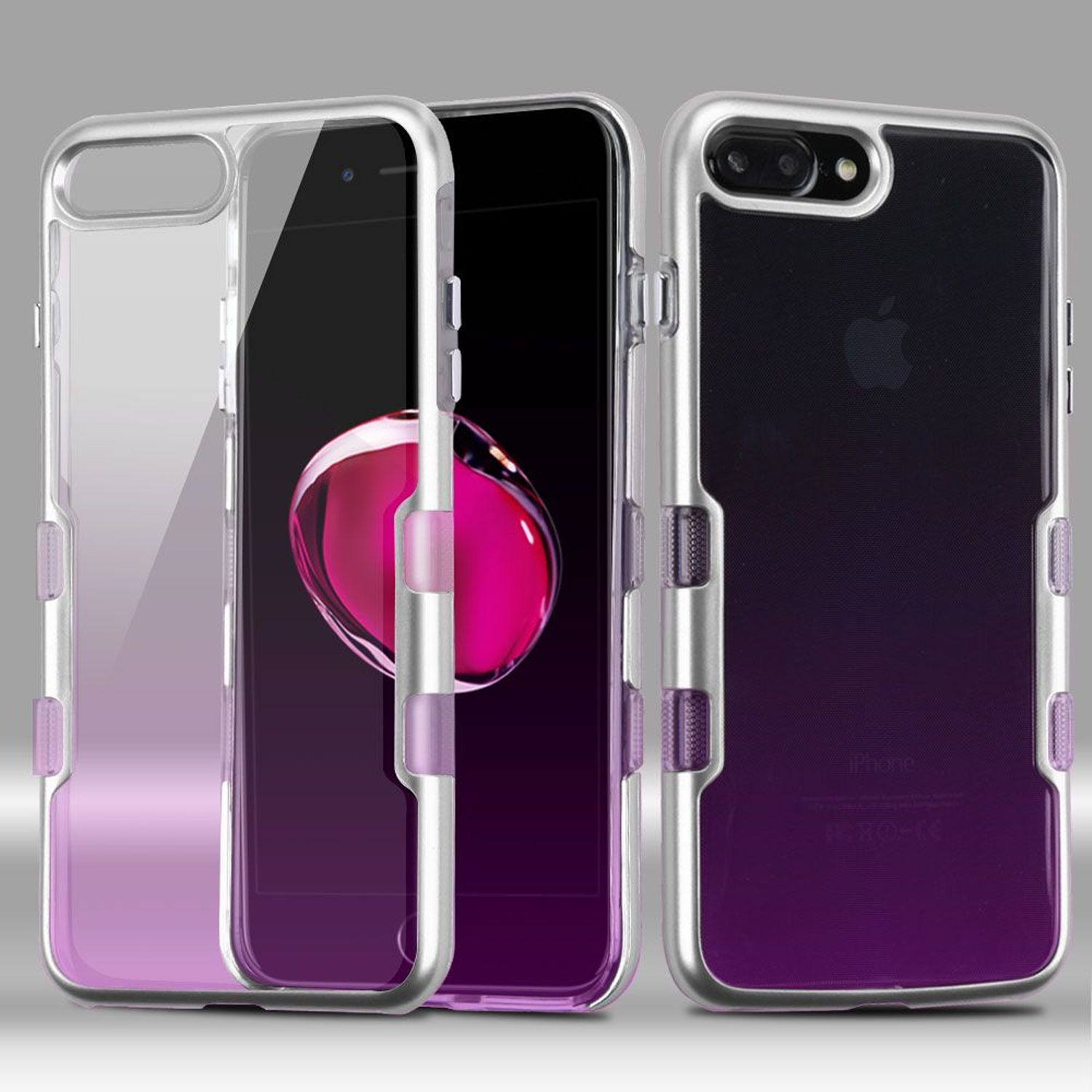 insten Tuff Dual Layer [Shock Absorbing] Hybrid Crystal Hard Plastic/Soft TPU Rubber Case Cover For Apple iPhone 8 Plus / iPhone 7 Plus, Purple/Silver