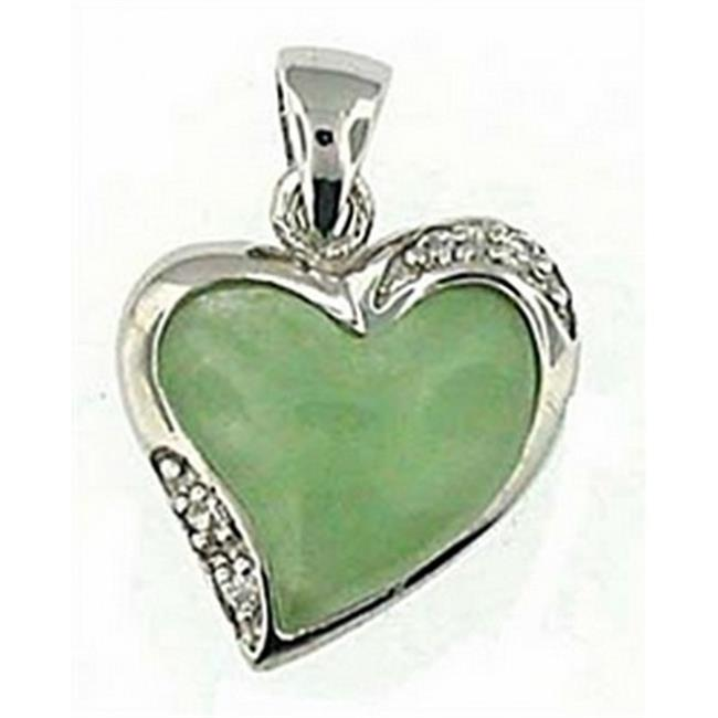 Doma Jewellery DJS02556 Sterling Silver (Rhodium Plated) and Jade Pendant with CZ