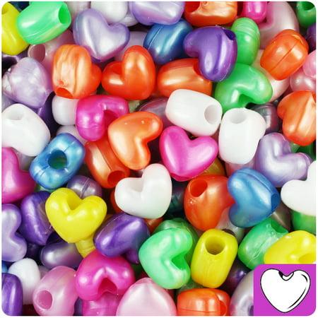 BeadTin Pearl Multi 12mm Heart Pony Beads (250pcs)