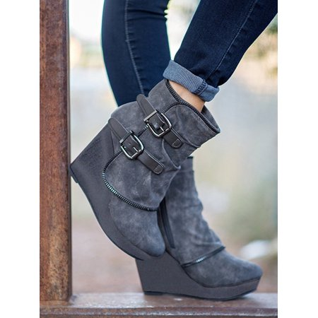 Women Double Buckle Casual Style Sexy Boots Zipper Ankle Wedge Heel Comfortable Boots Shoes ()