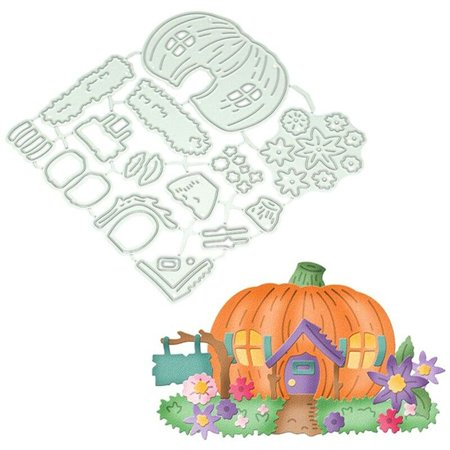 AkoaDa Halloween Pumpkin House Metal Cutting Dies Stencil Scrapbooking Embossing DIY