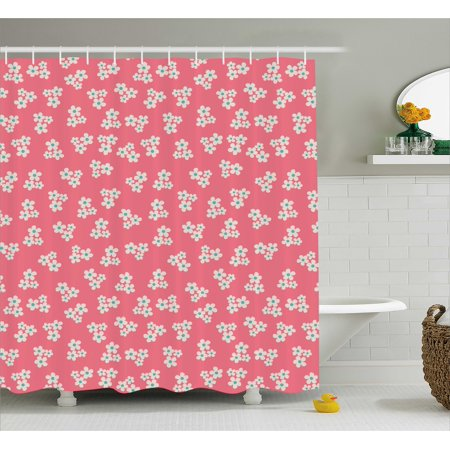 Country Home Shower Curtain, Cute Little Daisies Bouquets Girls Bedroom  Decor Freshness Pink Backdrop, Fabric Bathroom Set with Hooks, 69W X 70L ...