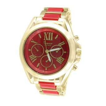 Red Dial Watch Gold Tone Roman Numeral Dial Geneva Platinum Stainless Steel Back