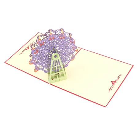 Wedding Paper 3D Ferris Wheel Design Decoration Celebrating Greeting Card Purple ()