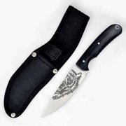 "Fury 9"" Fixed Blade RazorEdge Knife with Black Pakka Handle, Bear Etched"
