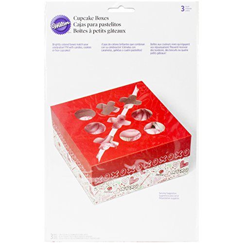 Wilton Industries 415-2801 3 Count Valentines Day Doodles Square Treat Boxes, Assorted Multi-Colored