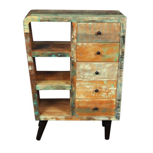 Wanderloot Route 66 Reclaimed Wood Mid-century Modern Sideboard Bookshelf 5-drawer Cabinet (India)