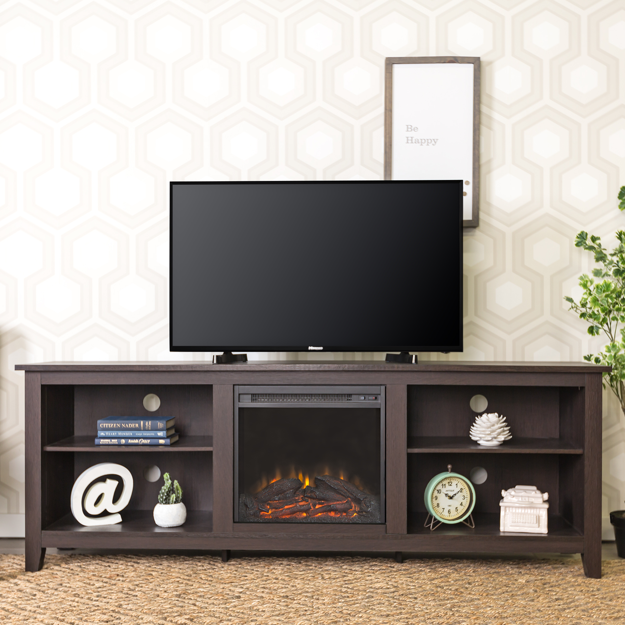 """Walker Edison Traditional Fireplace TV Stand for TV's up to 78"""" - Espresso"""