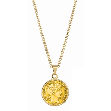 Gold-Layered Silver Barber Dime Goldtone Coin Pendant with 18