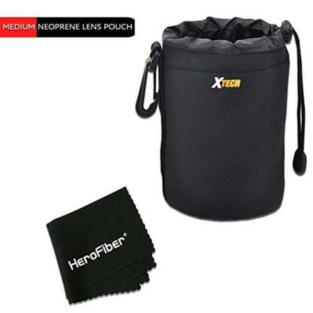 Xtech Medium Soft Neoprene Lens Pouch for Canon, Nikon, Fuji, Leica, Sony, Panasonic, Pentax, Sigma, Tamron, Vivitar, Konica & Minolta