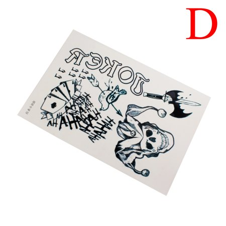 Waterproof Halloween Cosplay Party Joker Temporary Tattoos Full Body Stickers, D