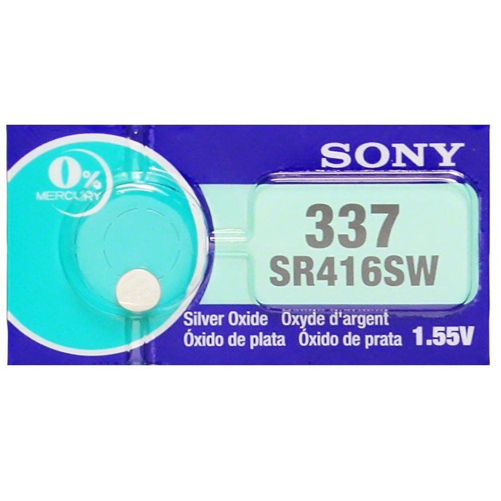 Sony 337 (SR416SW) 1.55V Silver Oxide 0%Hg Mercury Free Watch Battery (2 Batteries)