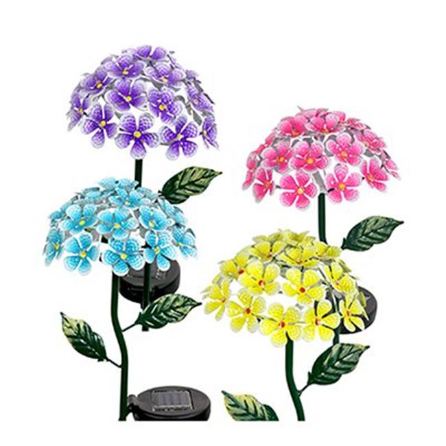 Exhart Environmental Systems 05707 LED Solar Hydrangea Garden Stake Light, Metal, Assorted Colors, 2-In. - Quantity 4