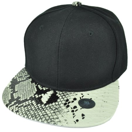 Black White Faux Snake Skin Pattern Visor Hat Cap Blank Plain Solid Snapback - Plain Birthday Hats