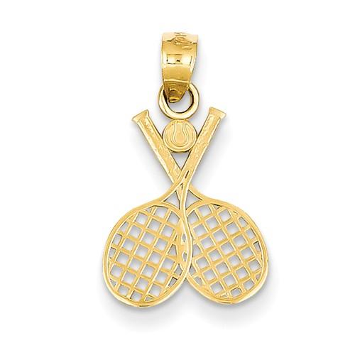 14k Yellow Gold Double Tennis Racquet Pendant