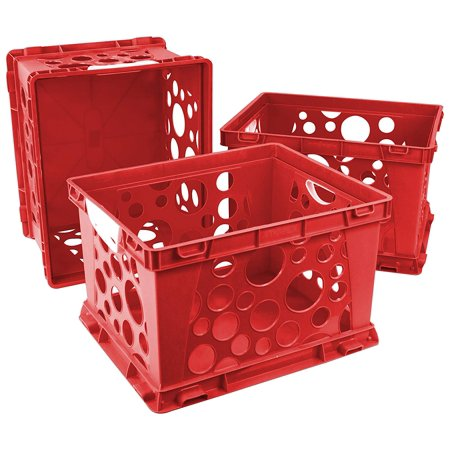 Large Storage and Filing Crate with Comfort Handles, 17.25 x 14.25 x 10.5 Inches, Red/White, Case of 3 (STX61742U03C), Built rugged to withstand tosses, tumbles and heavy.., By -