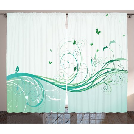 Turquoise Decor Curtains 2 Panels Set, Illustration Of Floral Victorian  Style Curvy Lines Wave Water Butterfly Pattern Design, Living Room Bedroom  ...