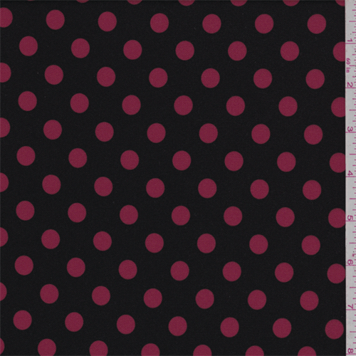 Black/Red Polka Dot Polyester, Fabric By the Yard