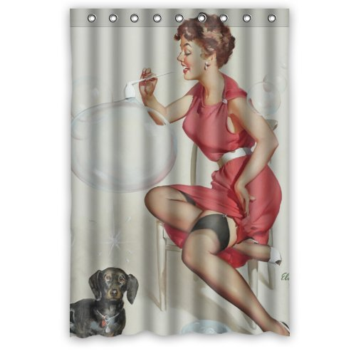 hellodecor naughty pin-up girls playing with dog retro body art work