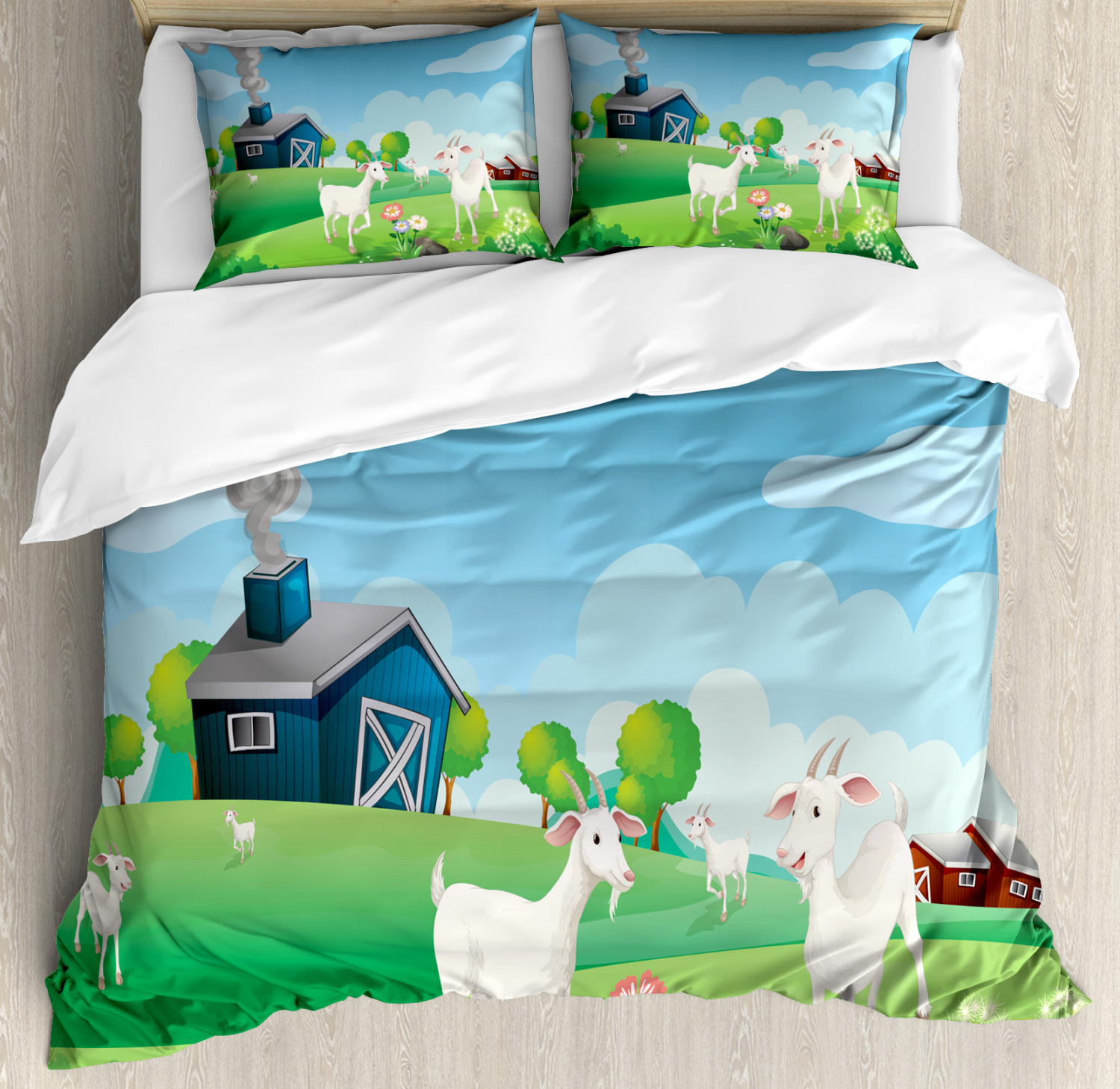 Farmhouse Duvet Cover Set King Size Pleasant Farm Life Illustration With Colorful Houses Green Meadows Happy Goats Decorative 3 Piece Bedding Set With 2 Pillow Shams Multicolor By Ambesonne Walmart Com Walmart Com