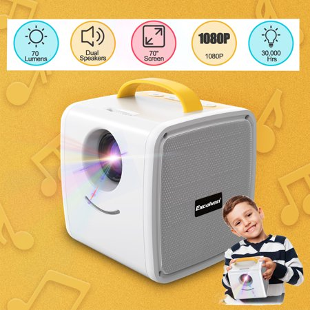 Excelvan 70 Lumens Mini Projector Q2 Children's Gift Multimedia Home Theater Support 1080P TF card AV USB HDMI