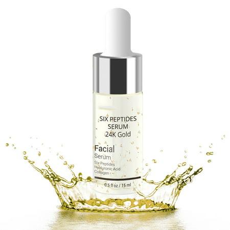 Intensive Peptide Serum (Six Peptides Serum 24k Gold Anti Aging Wrinkle Moisturizing Skin Care )