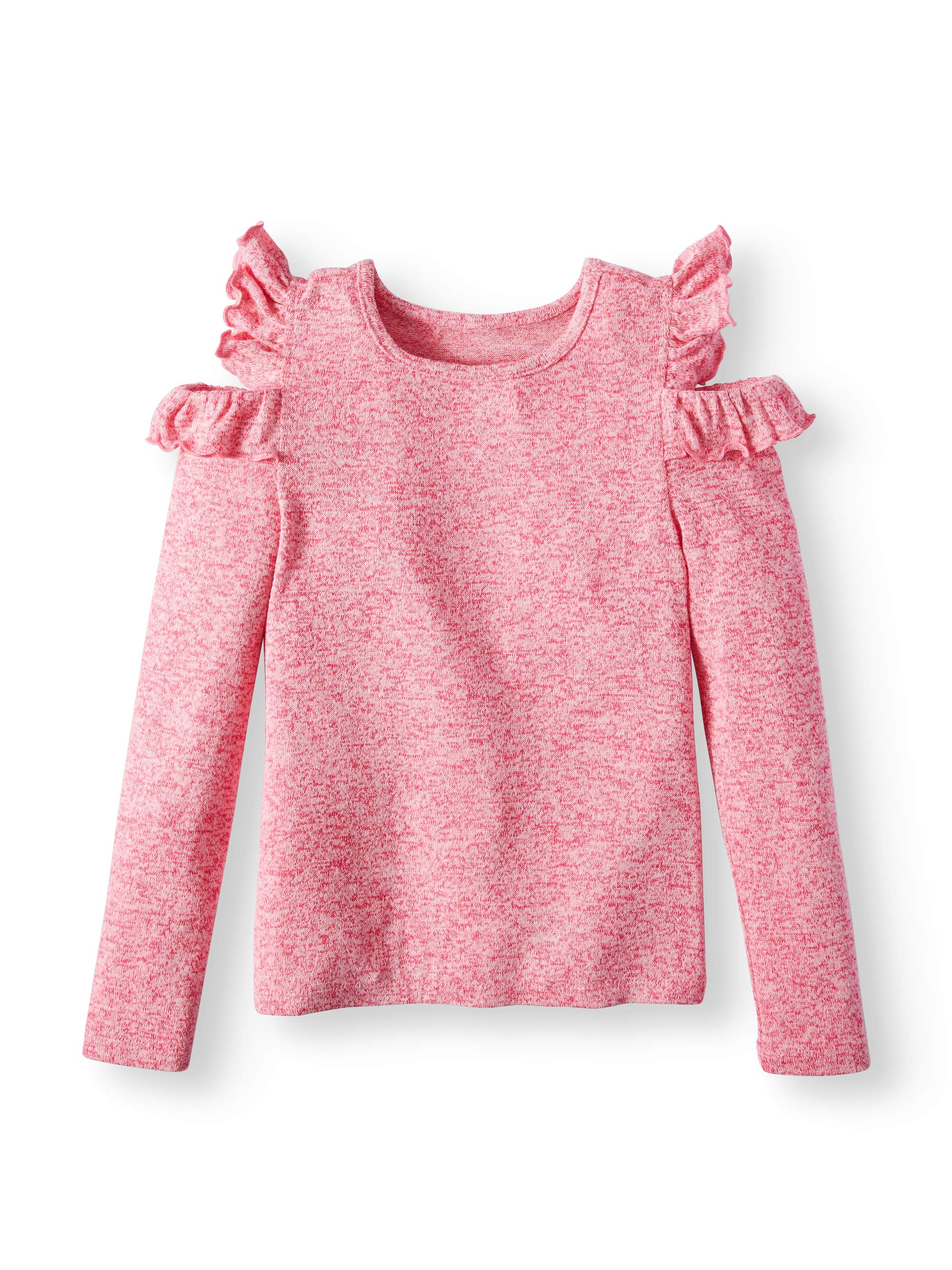 Ruffled Cold Shoulder Sweater Knit Top (Big Girls)
