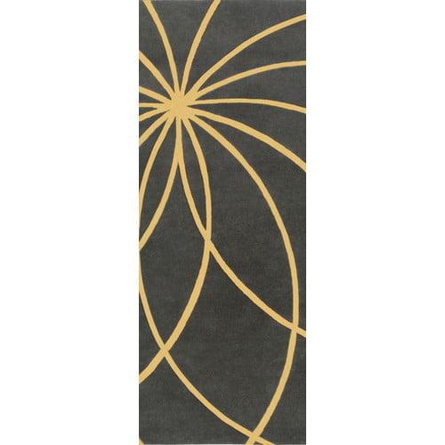 Ebern Designs Dewald Hand Woven Wool Black/Yellow Area Rug
