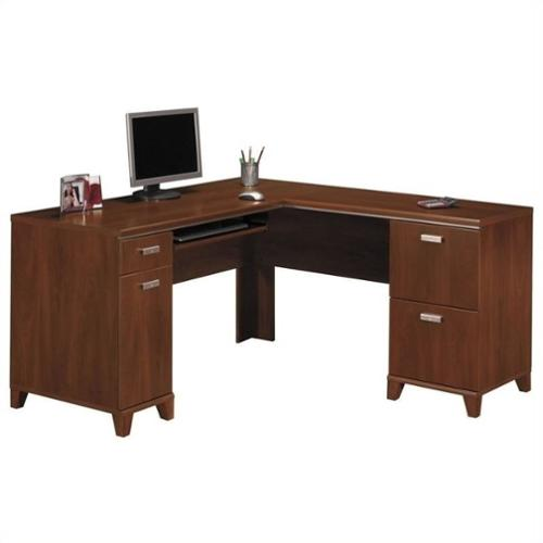 Bush Tuxedo L-Shaped Computer Desk, Hansen Cherry