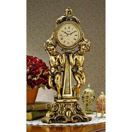 Design Toscano Amboise Twin Cherubs Mantle Clock Column Mantle Clock