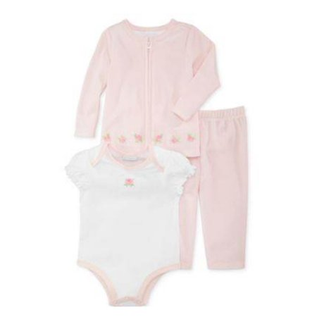 First Impressions Infant Girl 3 PC Pink Velour Rosette Pants Shirt Sweater