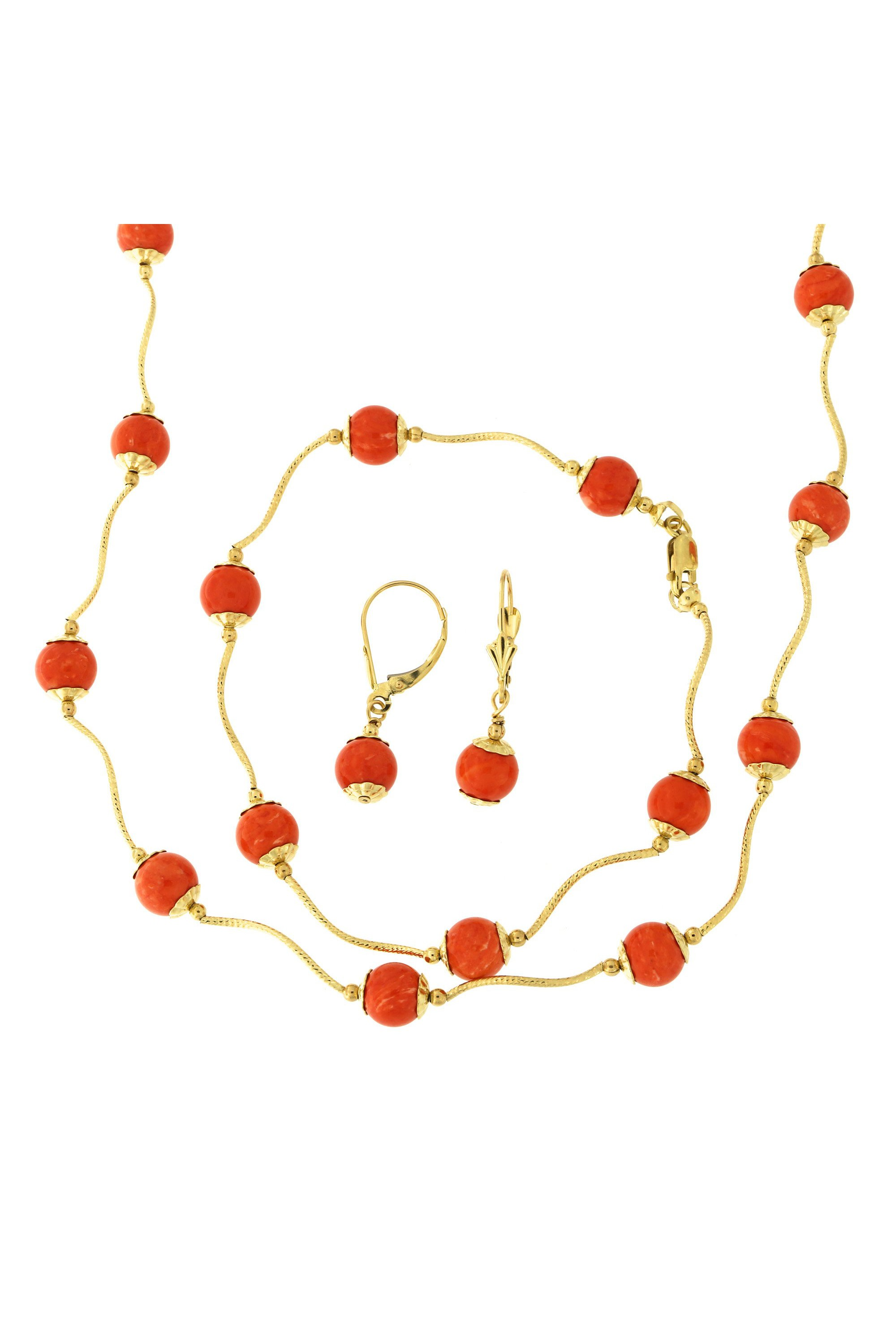 14k Yellow Gold Diamond Cut 7mm Capped Simulated Coral Station Necklace, Earrings and Bracelet Set by