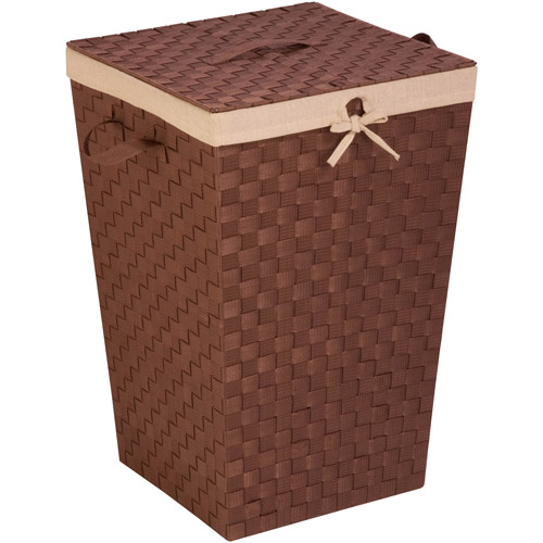 Honey-Can-Do Woven Strap Hamper with Liner and Lid, Java Brown