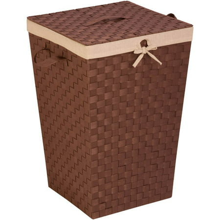 Honey Can Do Woven Strap Hamper with Liner and Lid, Java Brown ()