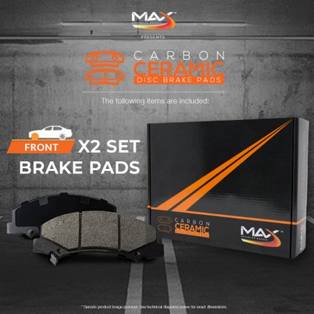 Max Brakes Front Carbon Ceramic Performance Disc Brake Pads KT030351 | Fits: 2007 07 2008 08 Lexus GS350 RWD Models - image 4 de 6