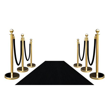 6 Gold Crown Rope Stanchions + 4 Black Velour Ropes + 1 pc of 3' x 10' Black Carpet