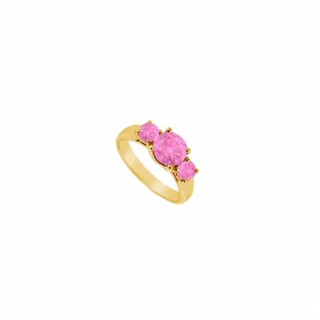 - UBJ191Y14PS-101RS8.5 Three Stone Pink Sapphire Ring 14K Yellow Gold, 0.75 CT - Size 8.5