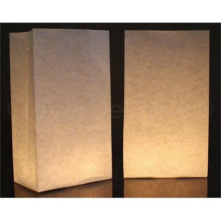 CleverDelights White Luminary Bags - 50 Count - Flame Resistant - Luminary Bags