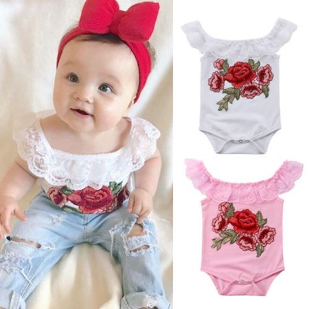 42fdea1858bb Newborn Baby Girl Floral Lace Embroidery Cotton Romper Bodysuit ...