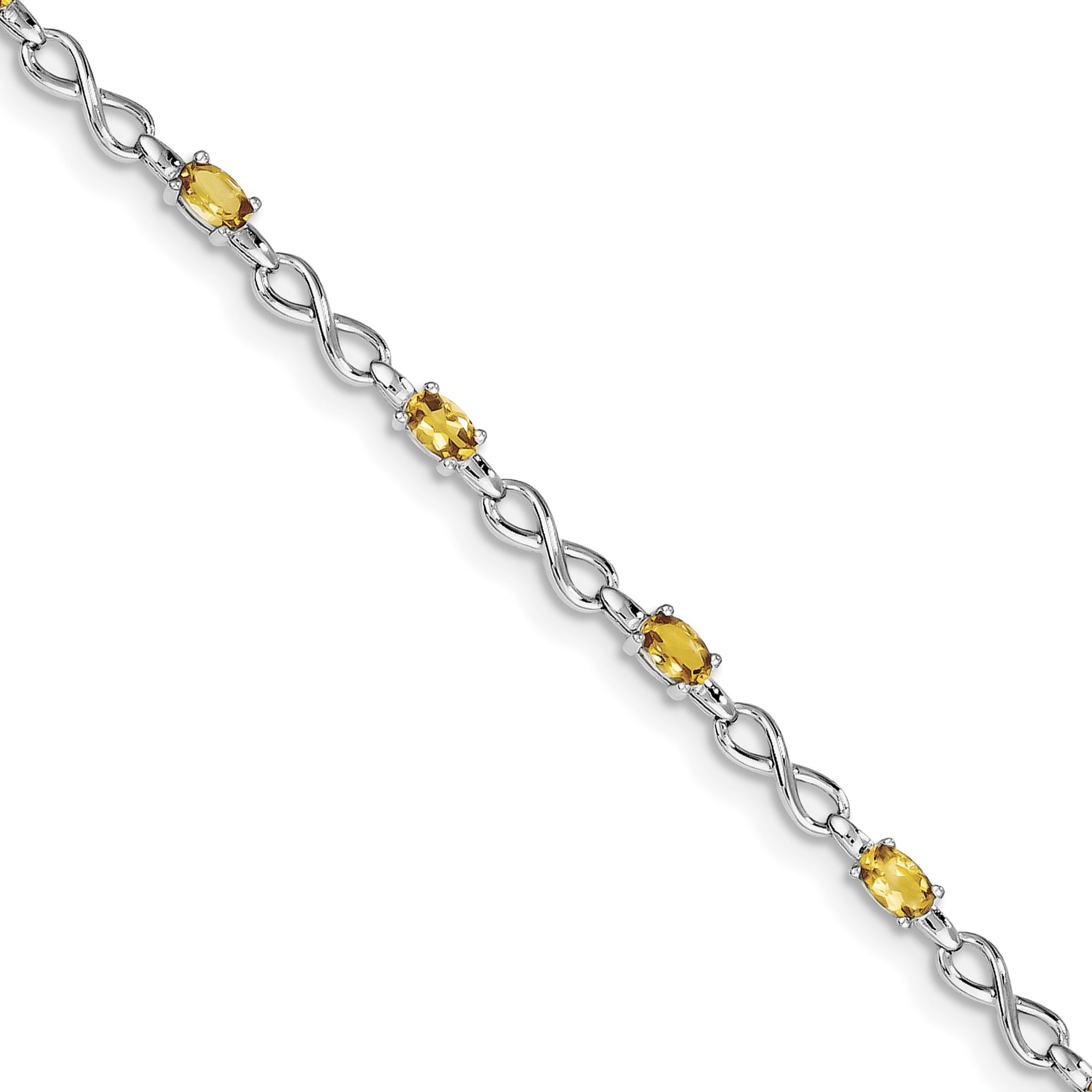 925 Sterling Silver Rhodium-plated Citrine Bracelet by