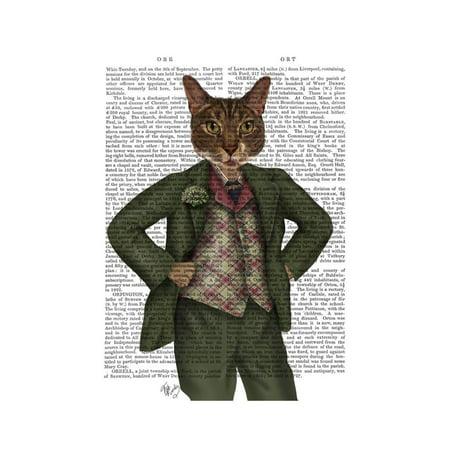 Cat in Tartan Waistcoat Print Wall Art By Fab Funky