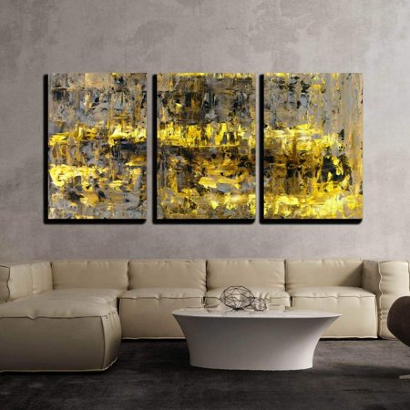 "wall26 - 3 Piece Canvas Wall Art - Brown and Yellow Abstract Art Painting - Modern Home Decor Stretched and Framed Ready to Hang - 16""x24""x3 Panels"