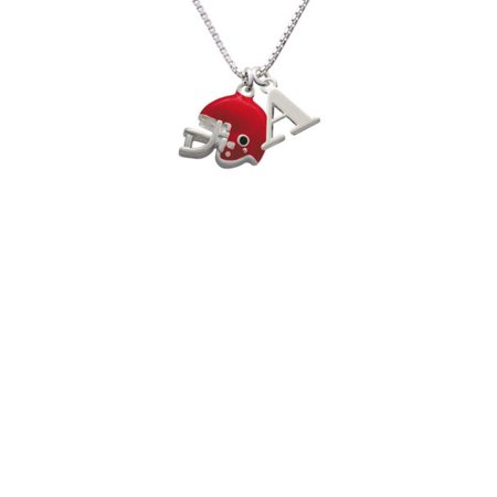 Silvertone Small Red Football Helmet - A - Initial Necklace