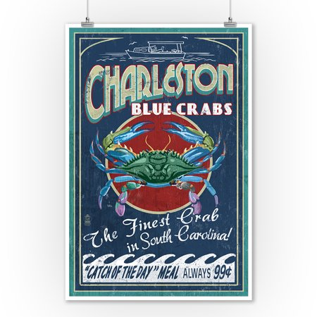 Charleston, South Carolina - Blue Crabs Vintage Sign - Lantern Press Artwork (9x12 Art Print, Wall Decor Travel Poster)