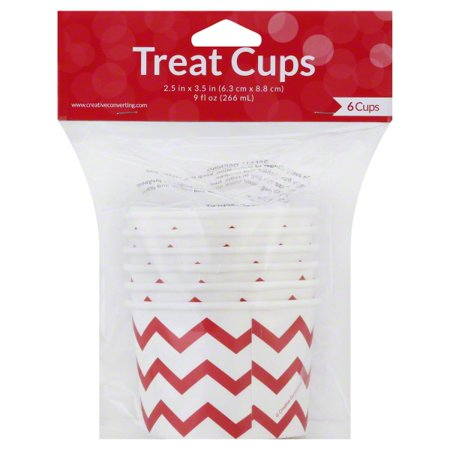 Chevron Stripe Treat Cups, Red, Pack of 6](Red Chevron)