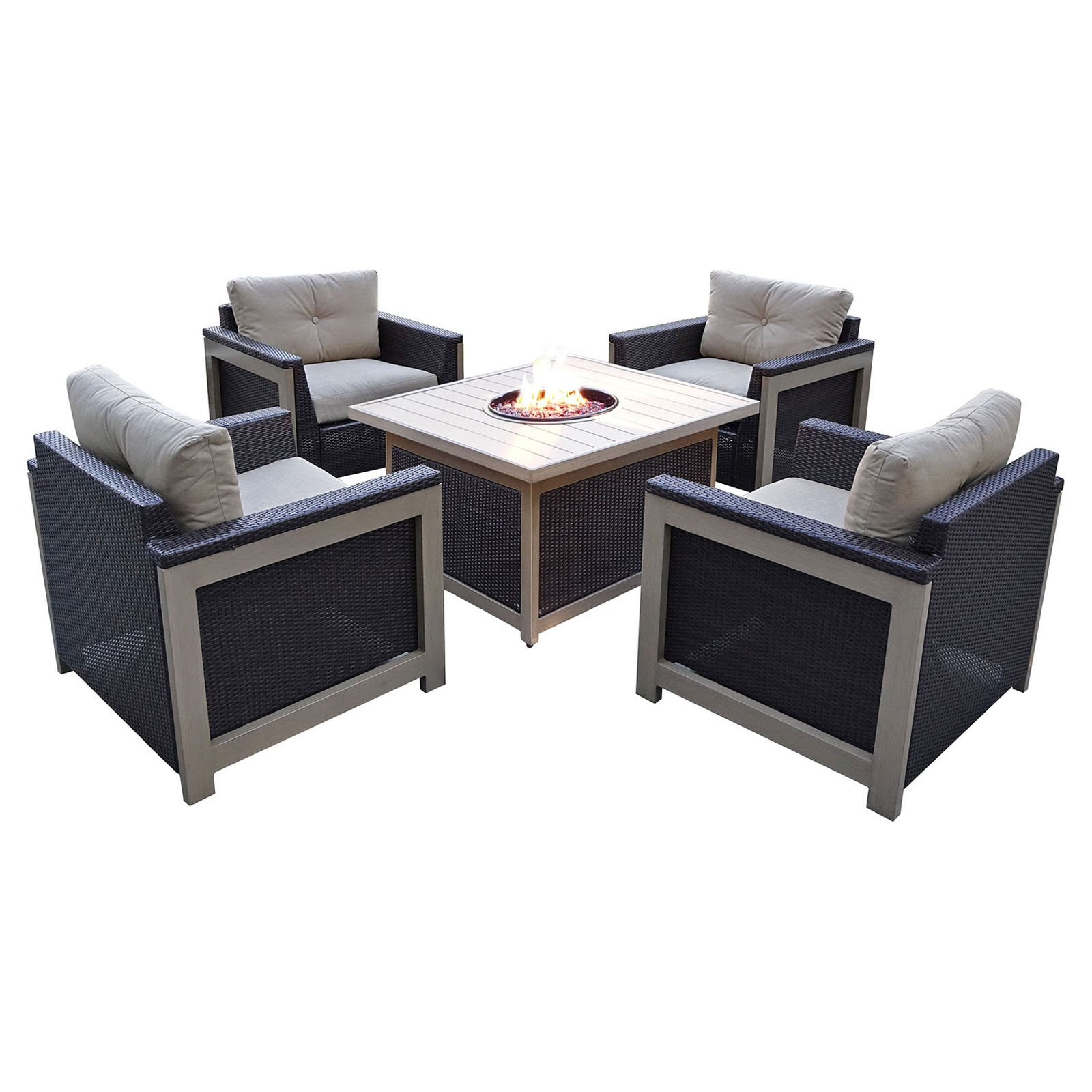 Hanover Outdoor Montana 5-Piece Woven Fire Pit Chat Set with Slate Top