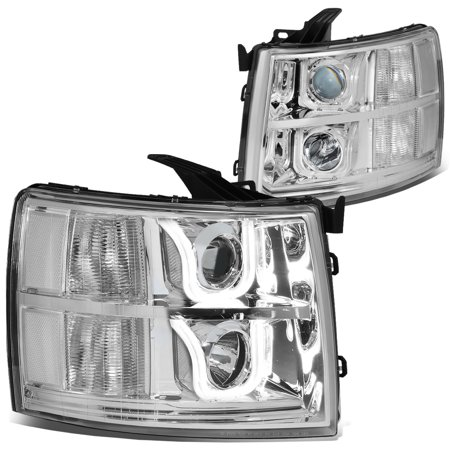 - For 2007 to 2014 Chevy Silverado Dual LED U -Halo Projector Headlight Chrome Housing Clear Corner 08 09 10 11 12 13 1500 2500 3500 Left+Right