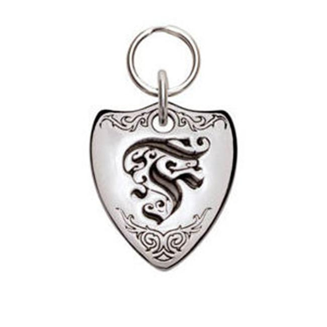 Rockinft Doggie 844587000189 Small Sterling Silver Crest Dog Tag - Letter F