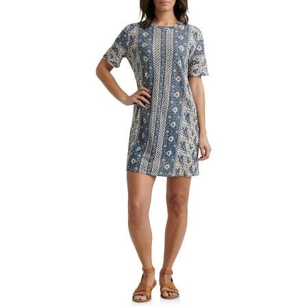 Printed Cotton Blend T-Shirt Dress Jointed Cotton Women Dresses